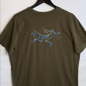 Arc'teryx Men's Olive Green Tee with logo on back